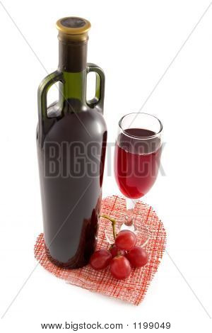 Bottle And Glass Of Red Wine On A Background Of Heart