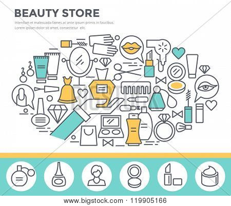 Beauty and shopping concept illustration, thin line flat design
