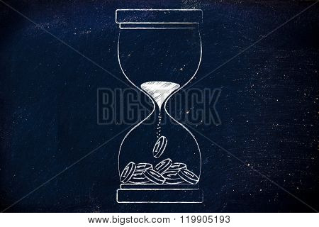 Hourglass With Sand Turning Into Coins