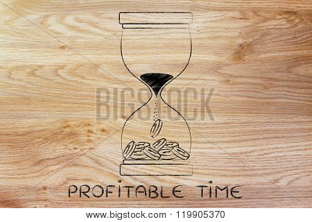 Hourglass With Sand Turning Into Coins, Profitable Time