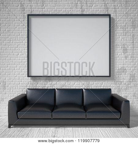 Mock up poster black leather sofa. 3D