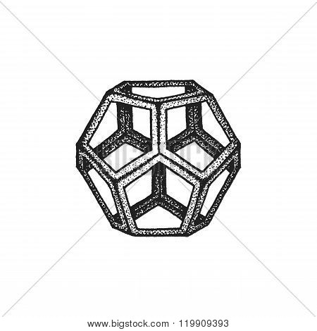 Hand Drawn Dotted Style Polyhedron Illustration.