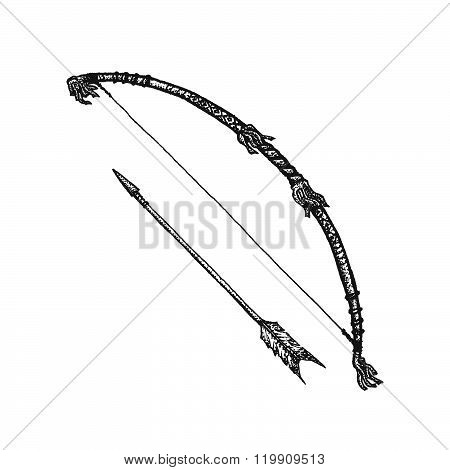 Hand Drawn Indian Bow Vintage Illustration.