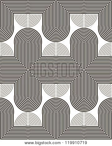 Tracks Of Bent And Curved Lines Seamless Pattern