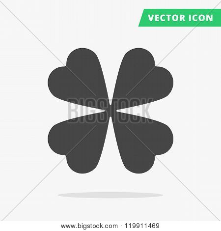 Quatrefoil leaf clover sign icon, Good Luck Sign, Saint patrick day symbol, Ecology image concept, Flat vector icon, black silhouette clover sign poster