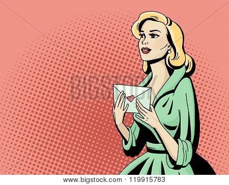 Pop Art Beautiful Woman With Love Letter.