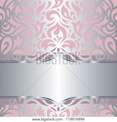 Floral pink & silver invitation vintage retro vector design