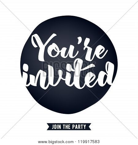 You're invited lettering design vector illustration.