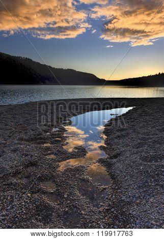 Sunset Over North Idaho Lake.