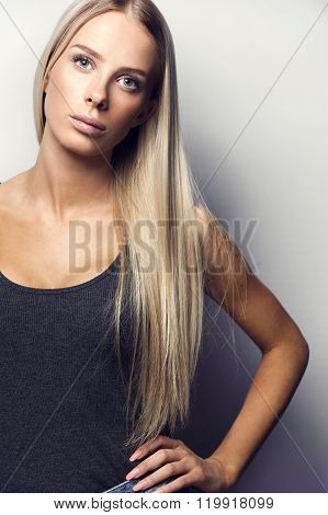Casual and confident blonde woman model