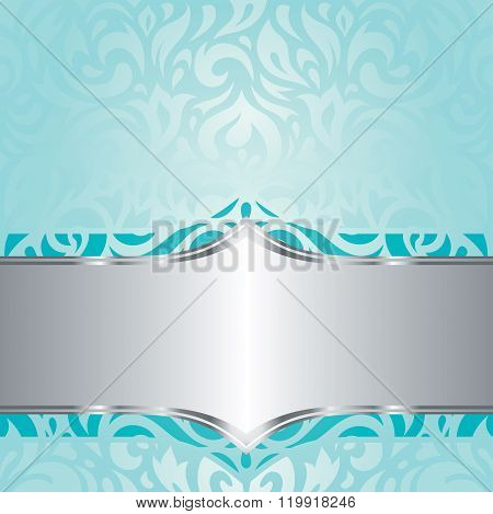 Retro floral Turquoise & silver holiday vintage invitation background design