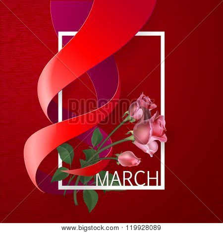 Happy Womens Day Paper Design.  Ribbon March 8 greeting card with red roses and white frame. Vector logo illustration.