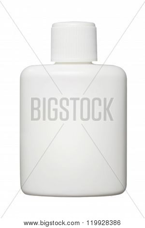 White Plastic Bottle For Cosmetic Or Hygiene Products With Copy Space