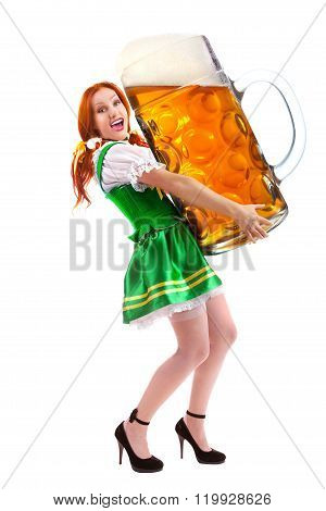 Happy Woman In Traditional Costume Holding A Huge Beer Glass