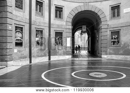 Ferrara, the theater entry hall. Black and white photo