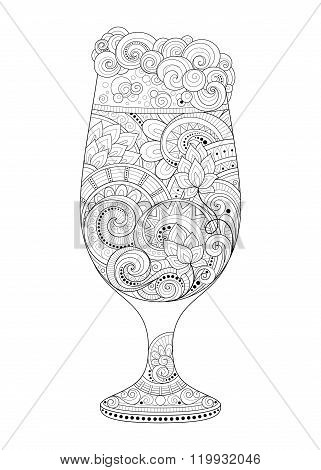 Vector Monochrome Contour Glass Of Beer With Decorative Doodle Pattern