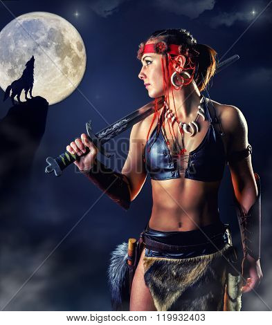Northern Girl Warrior In The Mystic Night