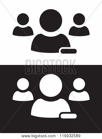 Vector Multiple User Icon in Black and Reverse