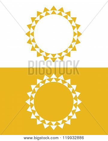 Vector Sun Graphic and Frame Set in Color and Reverse