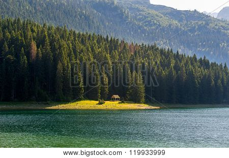 Black Lake shore, national park Durmitor, Montenegro