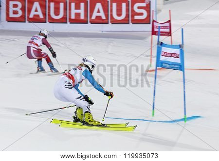 STOCKHOLM SWEDEN - FEB 23 2016: Maren Wiesler (GER) and competitor skiing at the FIS Alpine Ski World Cup - Men's and Woman's city event February 23 2016 Stockholm Sweden