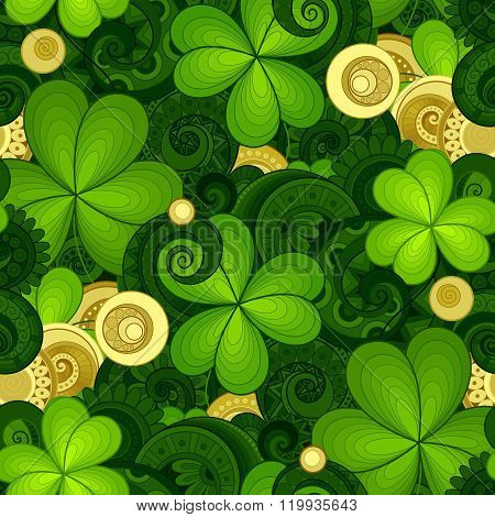 Vector Seamless Floral Pattern With Decorative Clover And Gold Coins