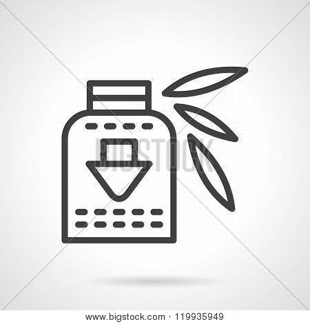 Vitamins syrup black line design vector icon