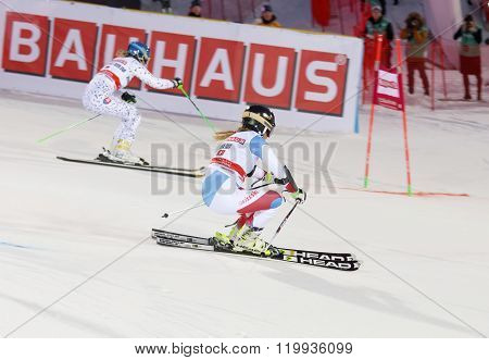 STOCKHOLM SWEDEN - FEB 23 2016: Skier Lara Gut (SUI) and competitor at the FIS Alpine Ski World Cup - city event February 23 2016 Stockholm Sweden