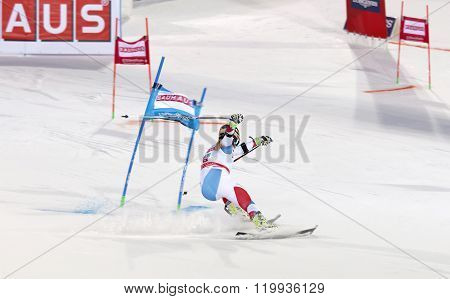 STOCKHOLM SWEDEN - FEB 23 2016: Rear view of skier Lara Gut (SUI) at the FIS Alpine Ski World Cup - city event February 23 2016 Stockholm Sweden