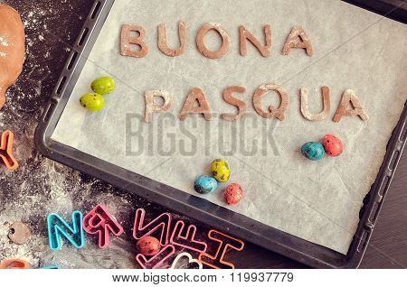 Words Buona Pasqua As Happy Easter In Italian Language
