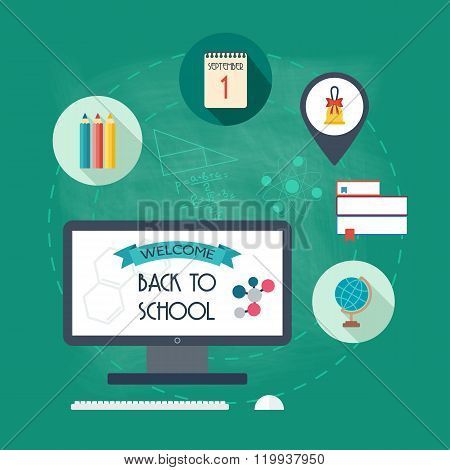 Background, Banner, Concept From The School And Education Icons. Back To Scholl. Flat Design. Vector