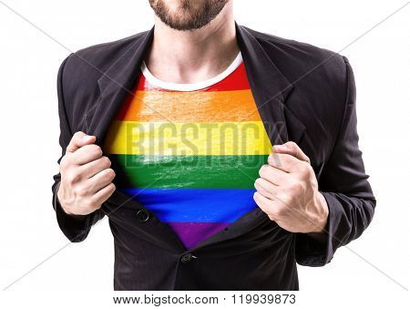 Businessman stretching suit with Rainbow Flag (LGBT Movement) isolated on white background