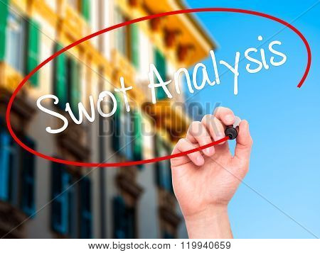 Man Hand Writing Swot Analysis With Black Marker On Visual Screen.
