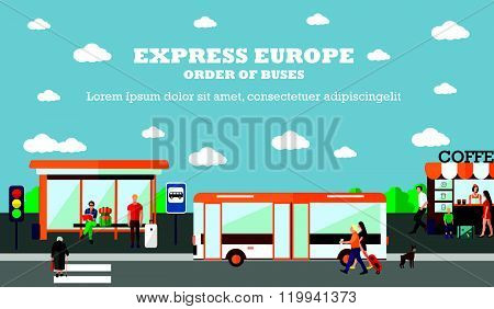 Mode of Transport concept vector illustration. Bus stop banner. City transportation objects.