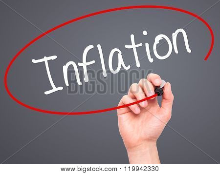 Man Hand Writing Inflation With Black Marker On Visual Screen.