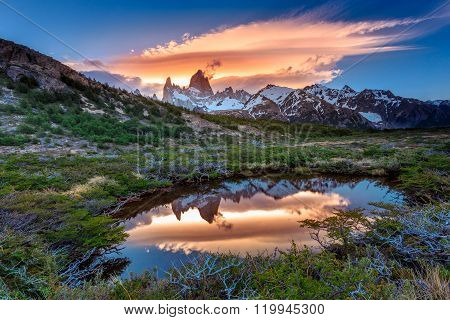 Fitz Roy view with reflection in pond