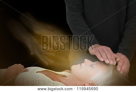 Male healer channeling healing energy to female with the help of a spirit healing guide poster