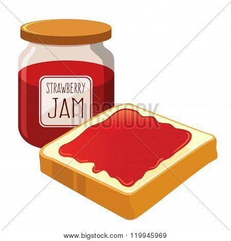 Strawberry Jam Spread On A Bread