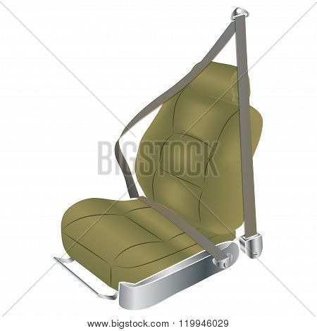 The front passenger seat of the car with the seat belt fastened. Vector illustration. poster