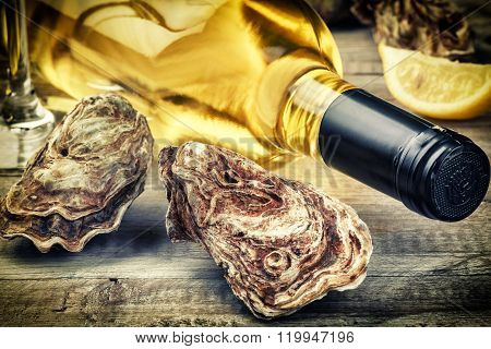 Fresh Oysters With White Wine Bottle