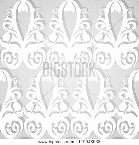 Seamless White Patterned Wallpaper. Classic Floral Ornament