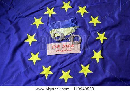 Partnership. EU and UA Flag poster