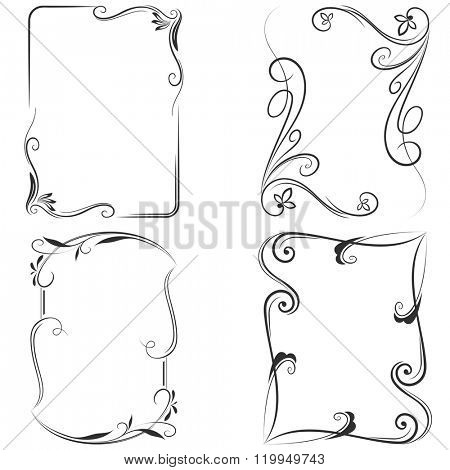 Black and white floral vector frame templates.