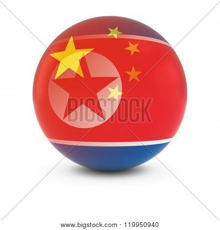 Chinese And North Korean Flag Ball - Fading Flags Of China And North Korea