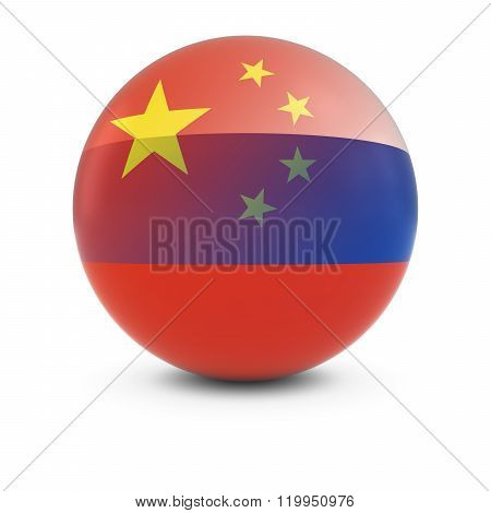 Chinese And Russian Flag Ball - Fading Flags Of China And Russia