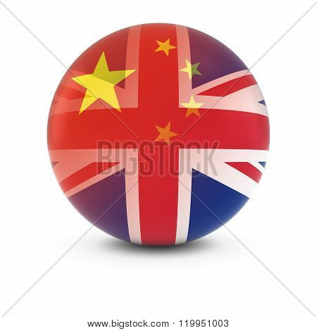 Chinese And British Flag Ball - Fading Flags Of China And The Uk