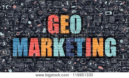 Geo Marketing Concept with Doodle Design Icons.