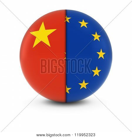 Chinese And European Flag Ball - Split Flags Of China And The Eu