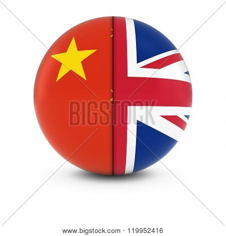 Chinese And British Flag Ball - Split Flags Of China And Britain