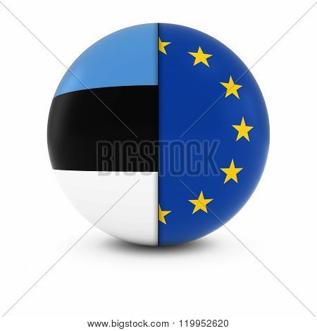 Estonian And European Flag Ball - Split Flags Of Estonia And The Eu